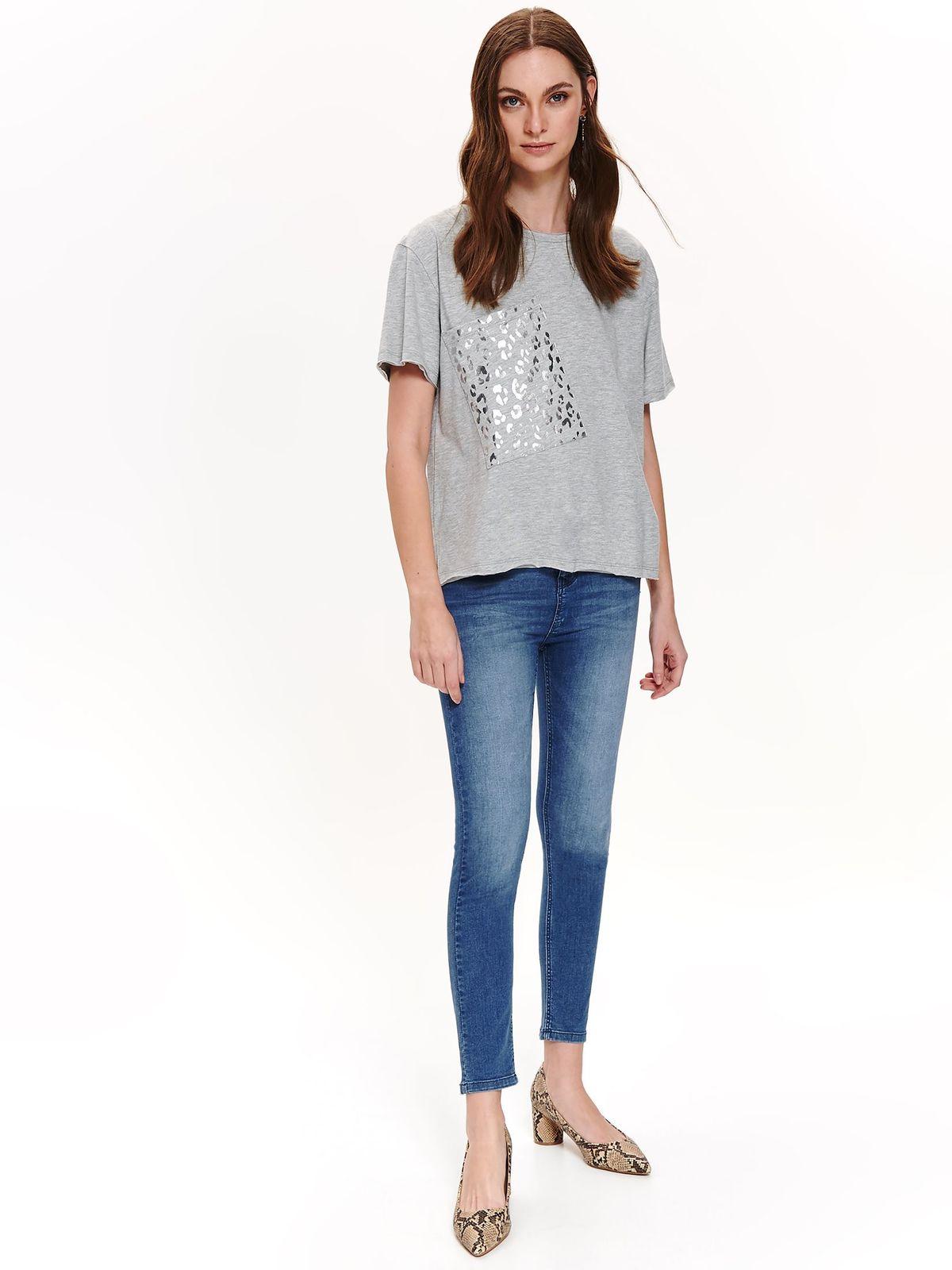 Top Secret lightgrey casual flared t-shirt slightly elastic cotton metallic details
