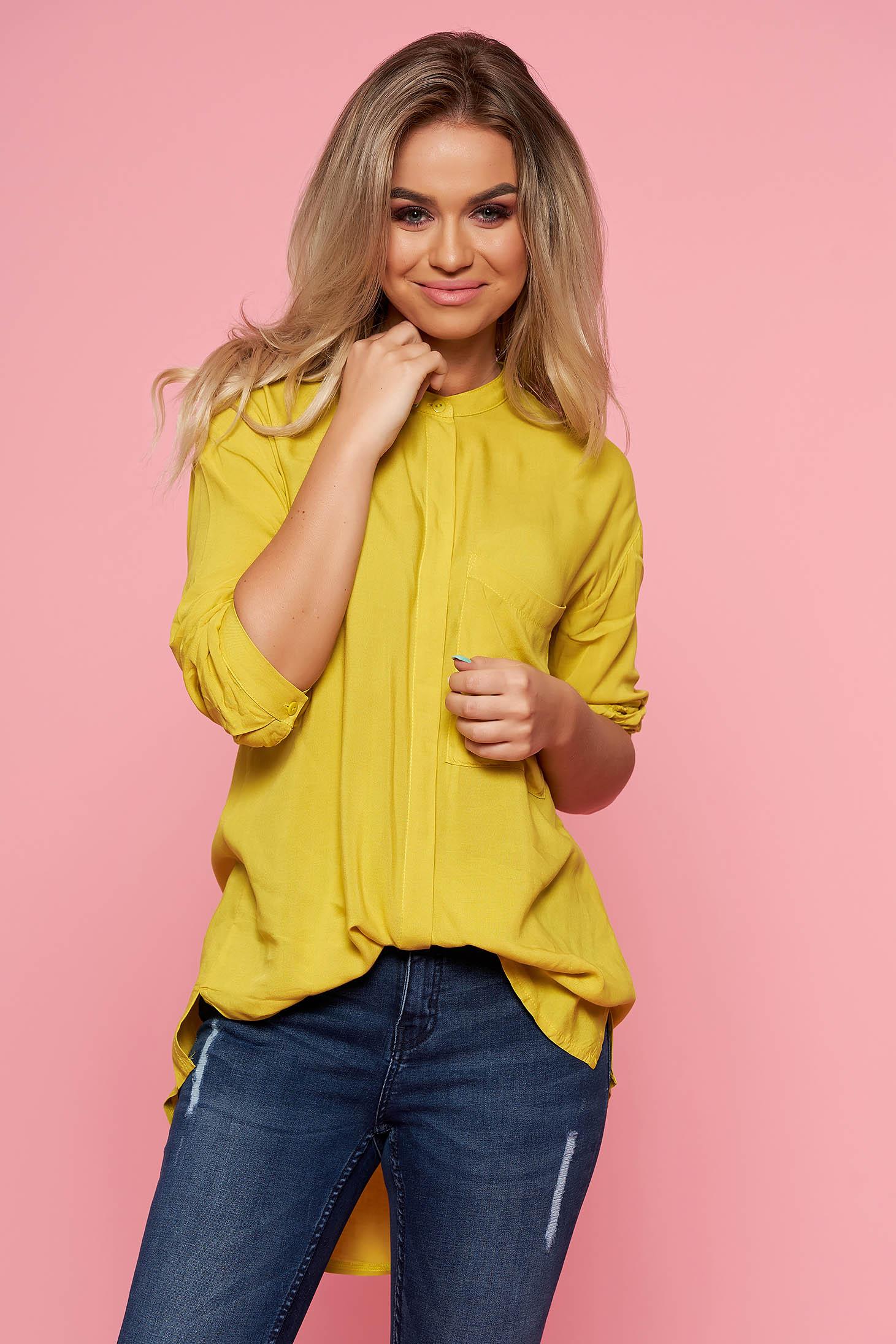 Top Secret yellow casual asymmetrical flared women`s shirt airy fabric long sleeved