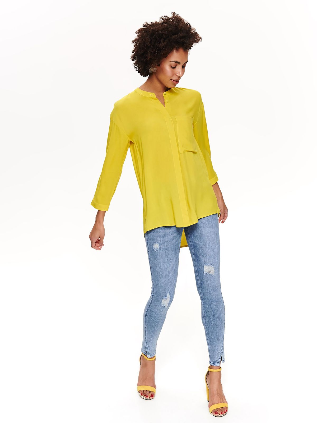 Top Secret yellow women`s shirt casual asymmetrical flared airy fabric long sleeved