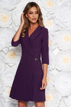 Artista purple blazer type a-line elegant dress slightly elastic fabric with inside lining