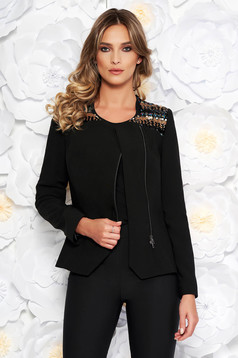 Black elegant jacket arched cut from non elastic fabric with inside lining with sequin embellished details