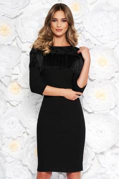 Black elegant midi pencil dress slightly elastic fabric fringes with lace details
