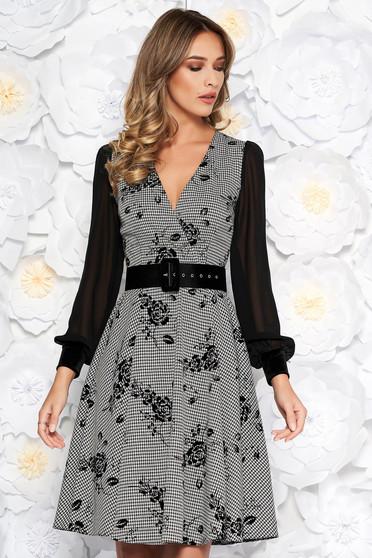 Black elegant midi cloche dress slightly elastic fabric with inside lining accessorized with belt