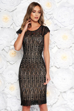 Black occasional midi dress with tented cut laced with inside lining with sequin embellished details