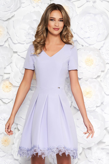 Lila elegant cloche dress from non elastic fabric with inside lining with lace details