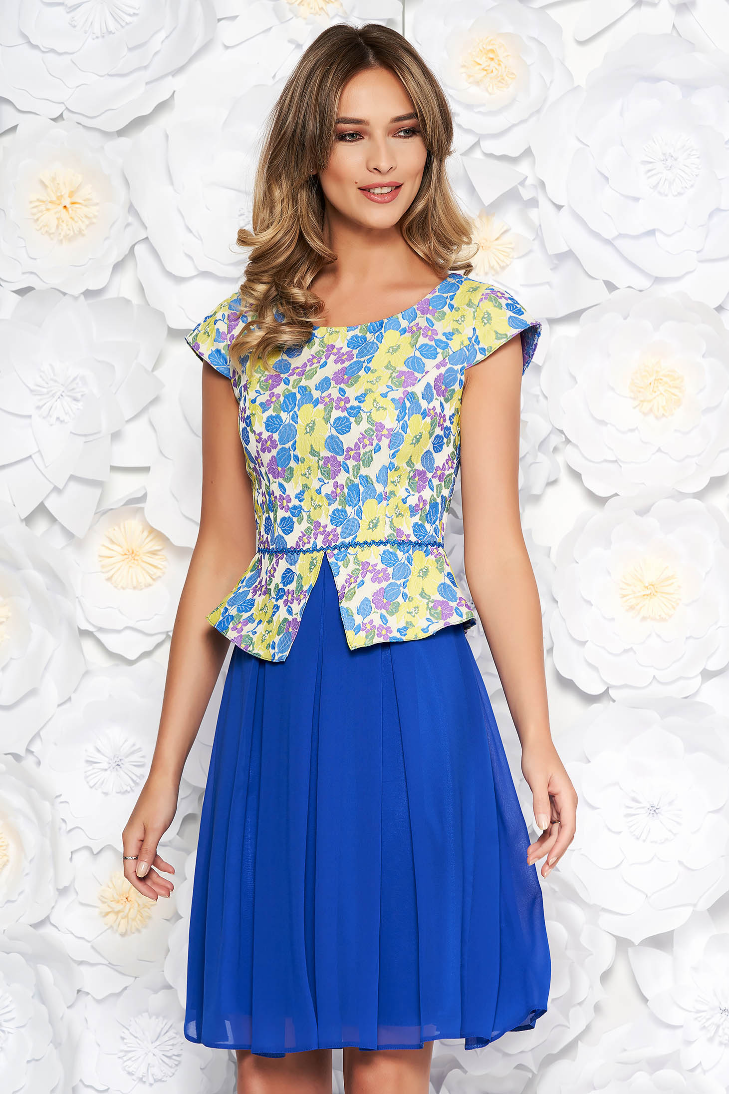 Blue elegant cloche dress from jacquard and veil fabric with inside lining with frilled waist