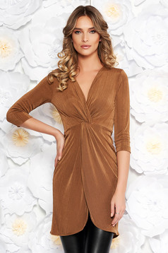 StarShinerS brown casual long women`s blouse with tented cut thin fabric with metallic aspect with v-neckline