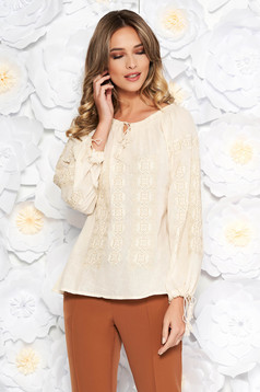 Cream embroidered women`s blouse with easy cut cotton with laced details