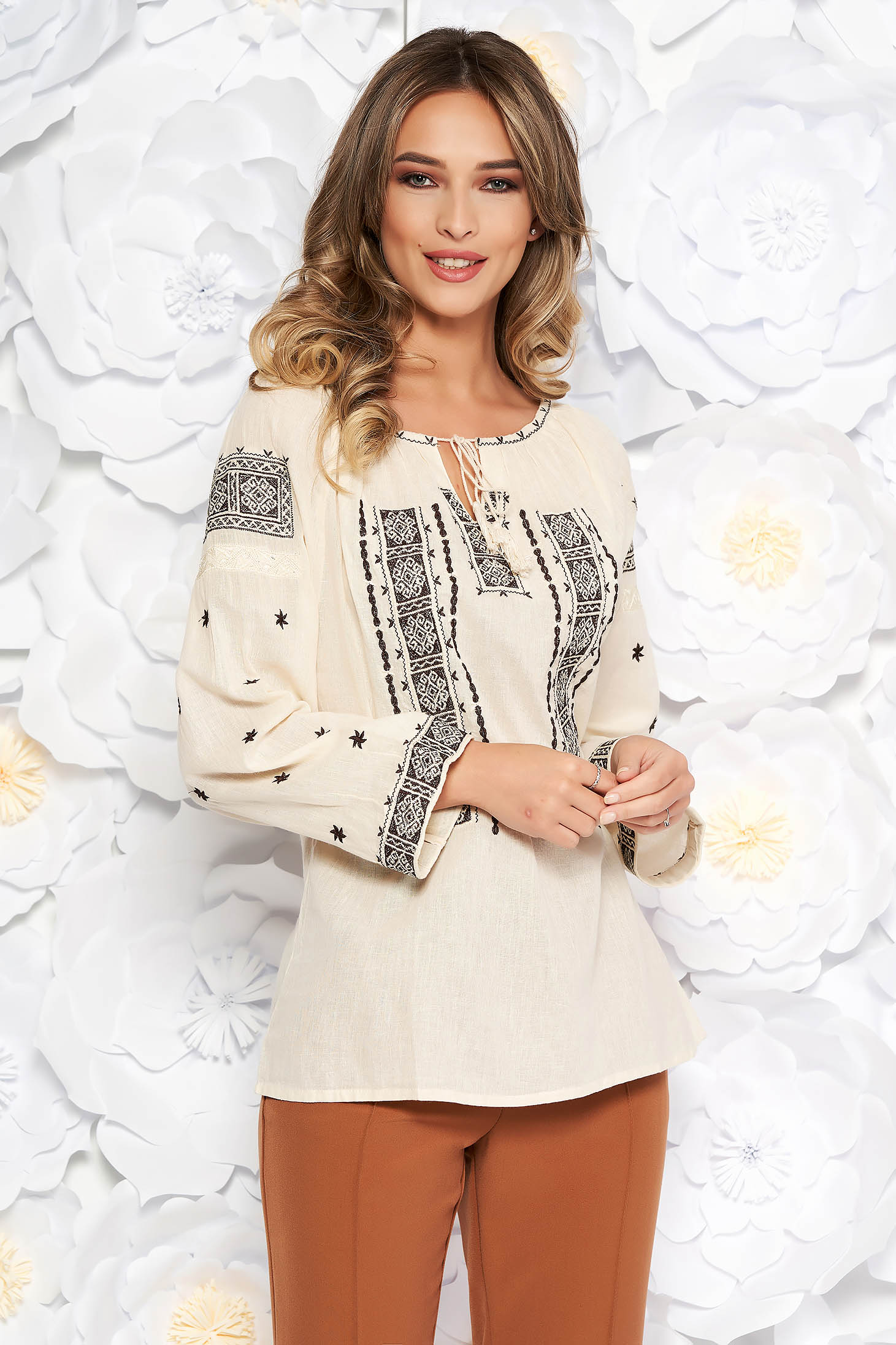 Cream blouse embroidered flared women`s blouse with laced details nonelastic cotton