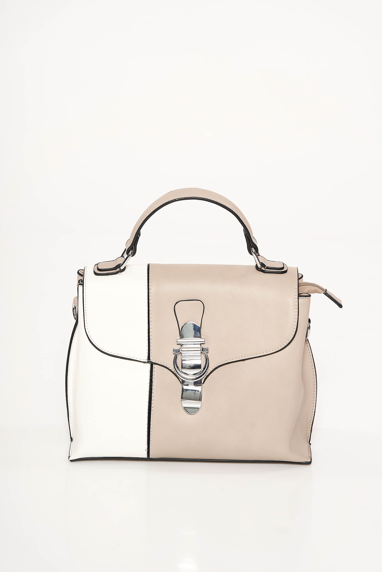 Cream office bag from ecological leather medium handles