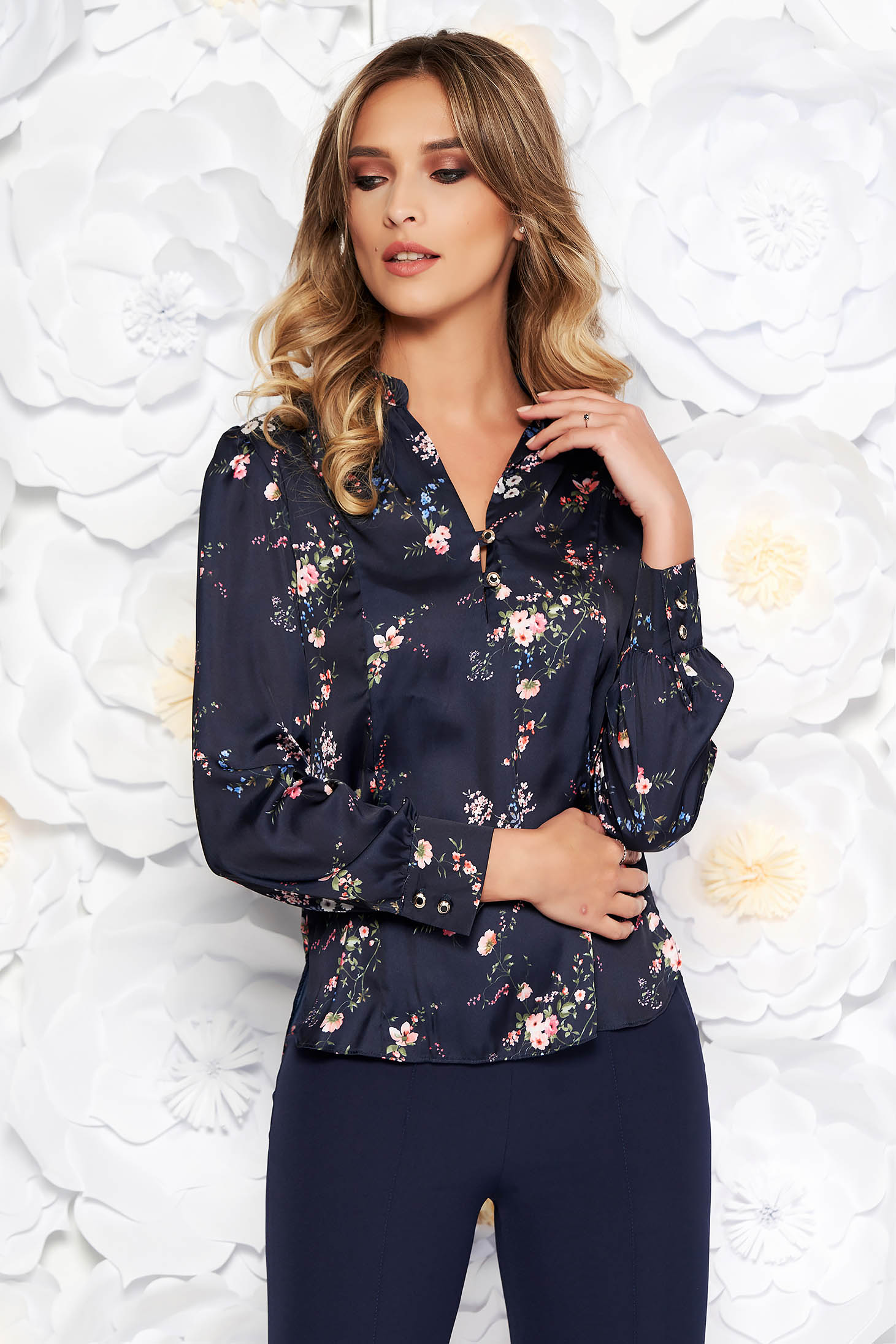 Darkblue elegant flared women`s shirt from satin fabric texture with floral prints