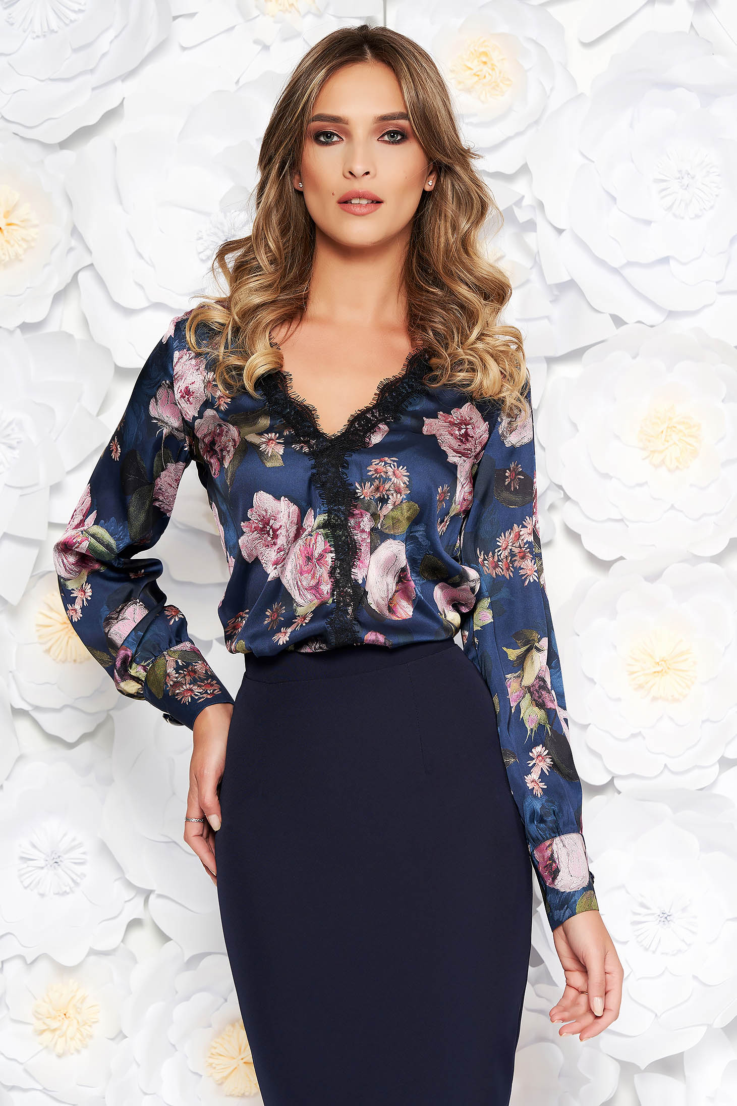 Darkblue elegant flared women`s blouse from satin fabric texture with lace details with v-neckline
