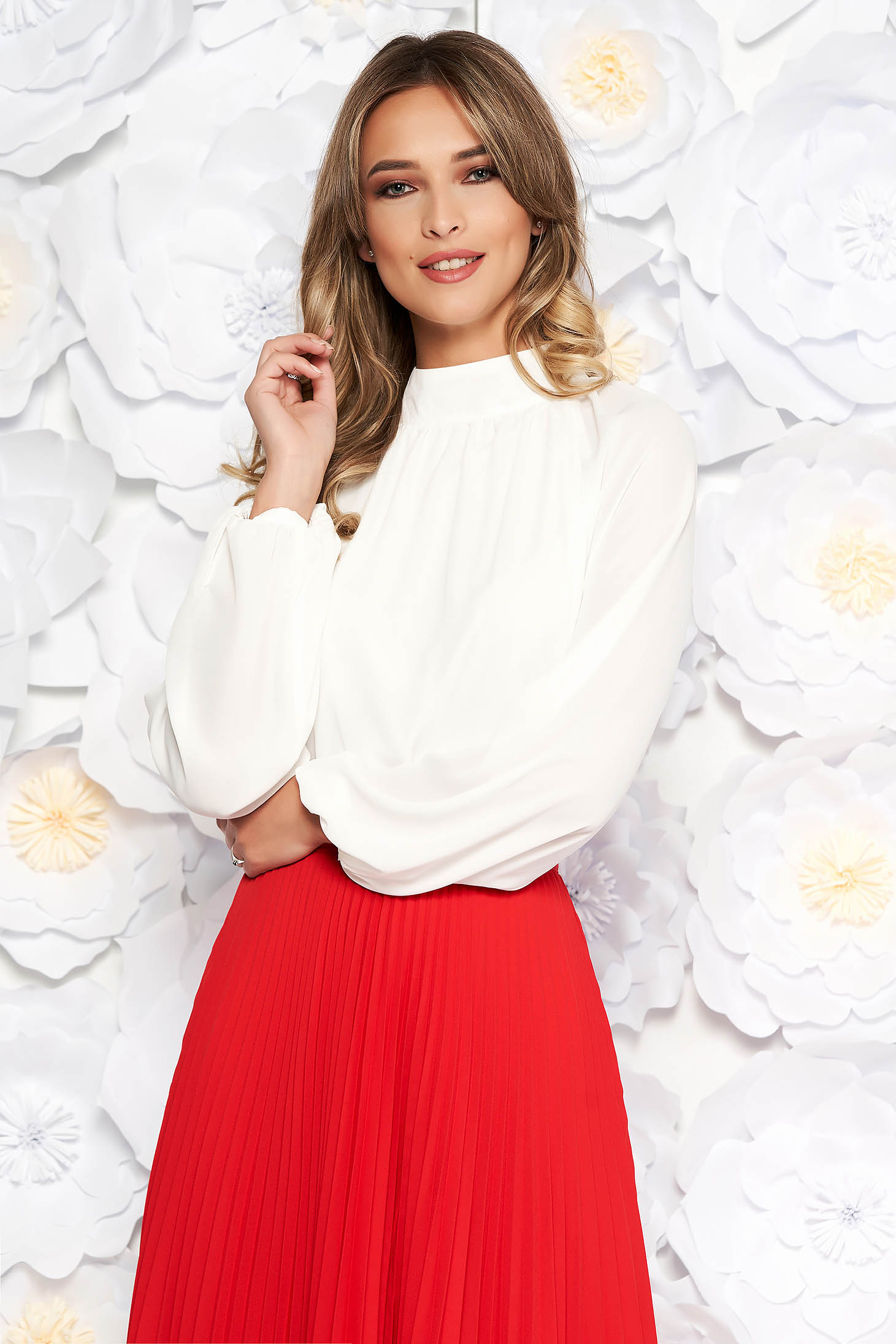 StarShinerS white elegant flared women`s blouse from veil fabric with inside lining long sleeved