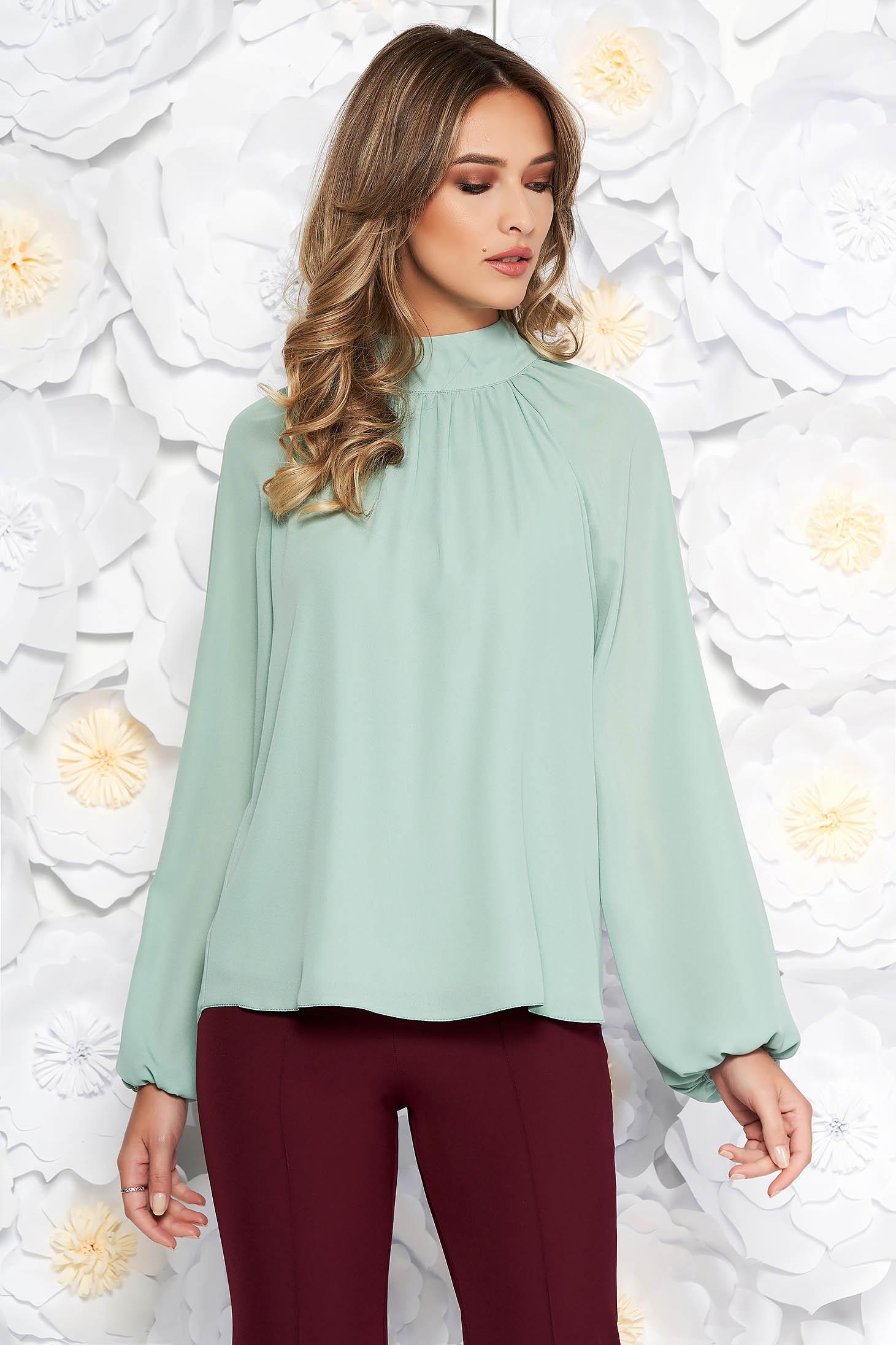 Bluza dama StarShinerS verde-deschis eleganta cu croi larg din voal captusita pe interior cu maneci lungi