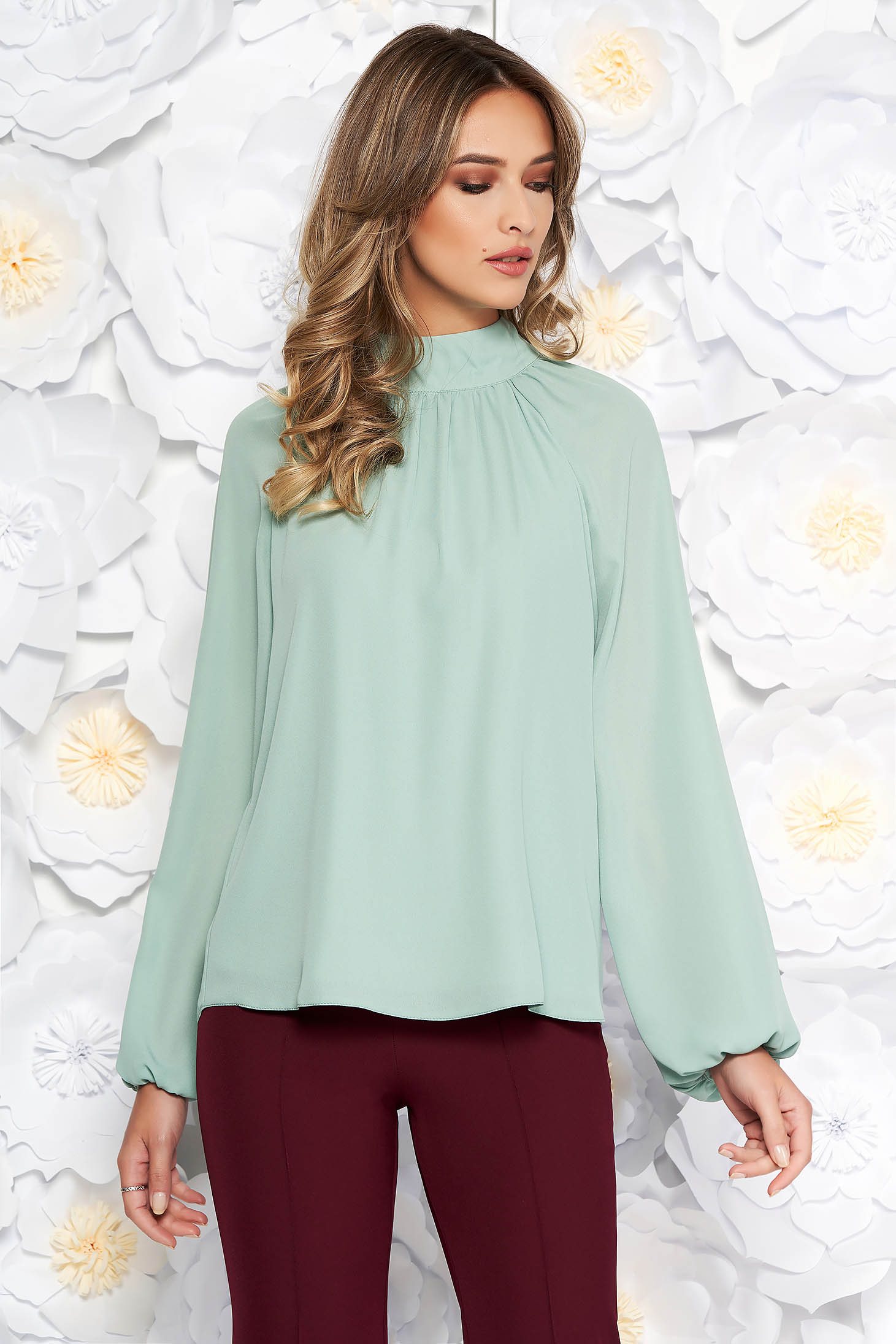 StarShinerS lightgreen elegant flared women`s blouse from veil fabric with inside lining long sleeved