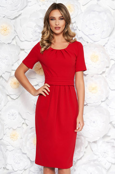 StarShinerS red office midi pencil dress slightly elastic fabric with inside lining short sleeves