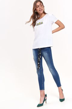 Top Secret white casual flared t-shirt nonelastic cotton short sleeves