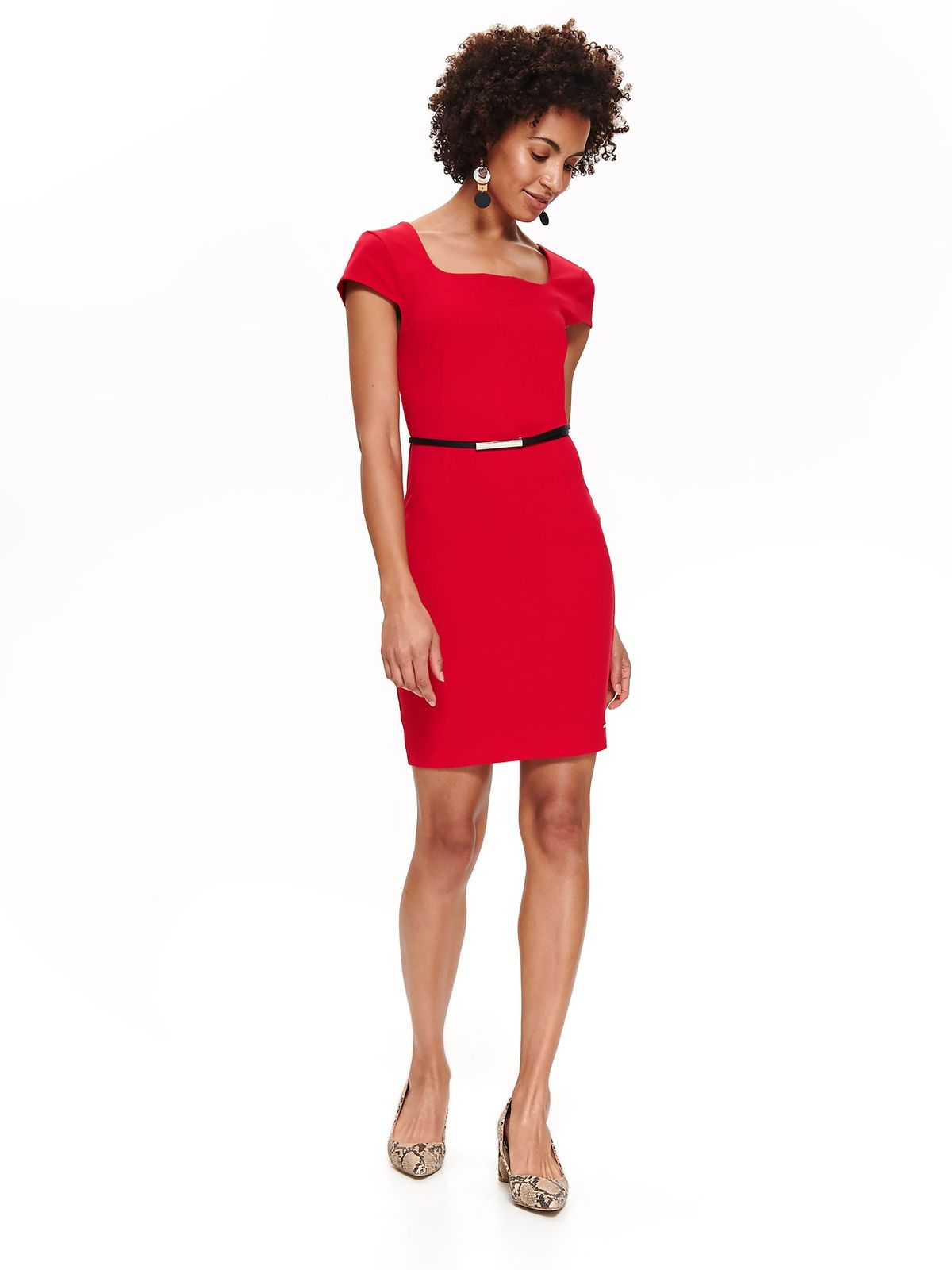 Top Secret red office pencil dress slightly elastic fabric accessorized with belt