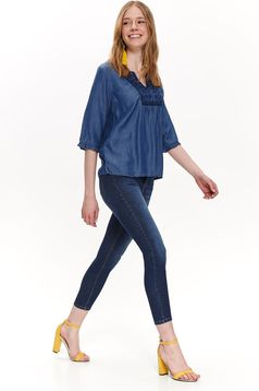 Top Secret blue casual flared women`s blouse with embroidery details denim with v-neckline