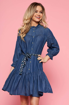 Top Secret blue casual flared dress thin fabric denim accessorized with tied waistband