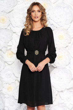 LaDonna black elegant flared dress from veil fabric with inside lining accessorized with tied waistband