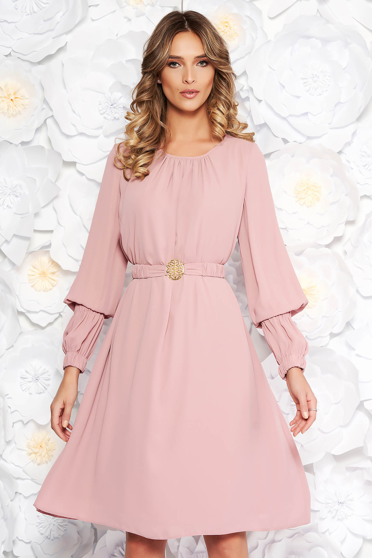 LaDonna rosa elegant flared dress from veil fabric with inside lining accessorized with tied waistband