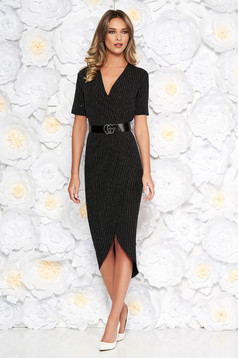 Black elegant dress slightly elastic fabric with sequin embellished details accessorized with belt with tented cut