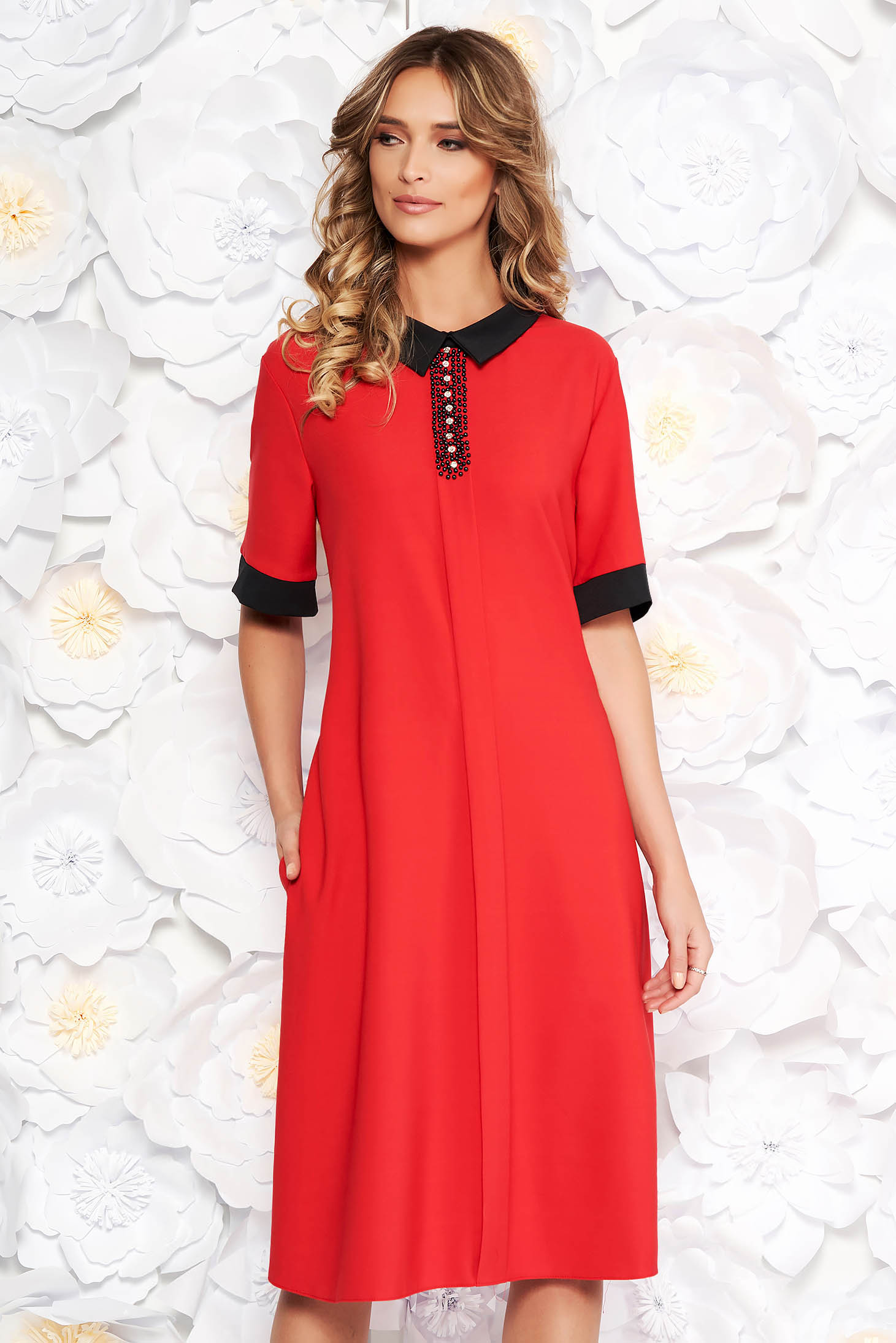 Red elegant midi flared dress soft fabric with pockets with small beads embellished details