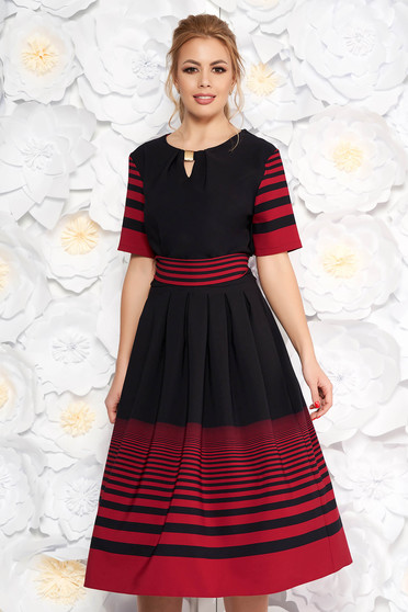 Black daily midi cloche dress thin fabric from elastic fabric accessorized with tied waistband