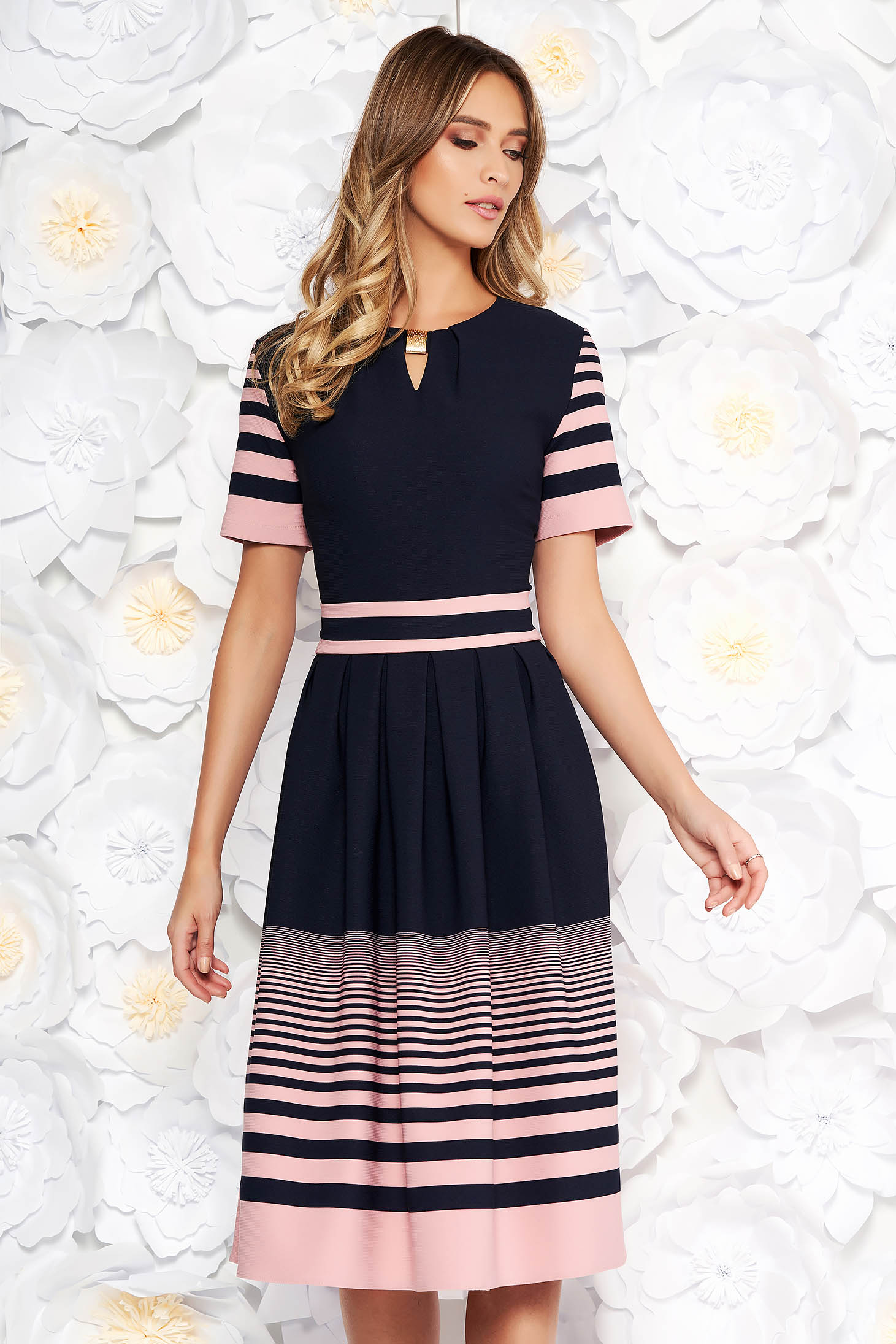 Darkblue daily midi cloche dress thin fabric from elastic fabric accessorized with tied waistband