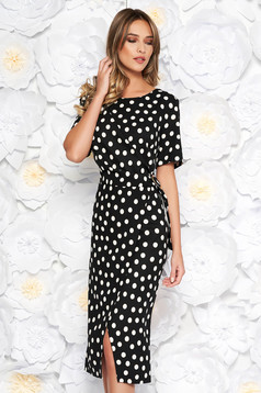Black office midi pencil dress flexible thin fabric/cloth with dots print with metalic accessory