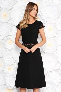 Black elegant midi cloche dress slightly elastic fabric with embroidery details