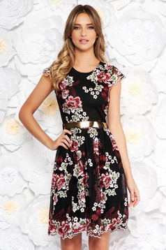 Black occasional cloche dress laced embroidered with inside lining accessorized with tied waistband