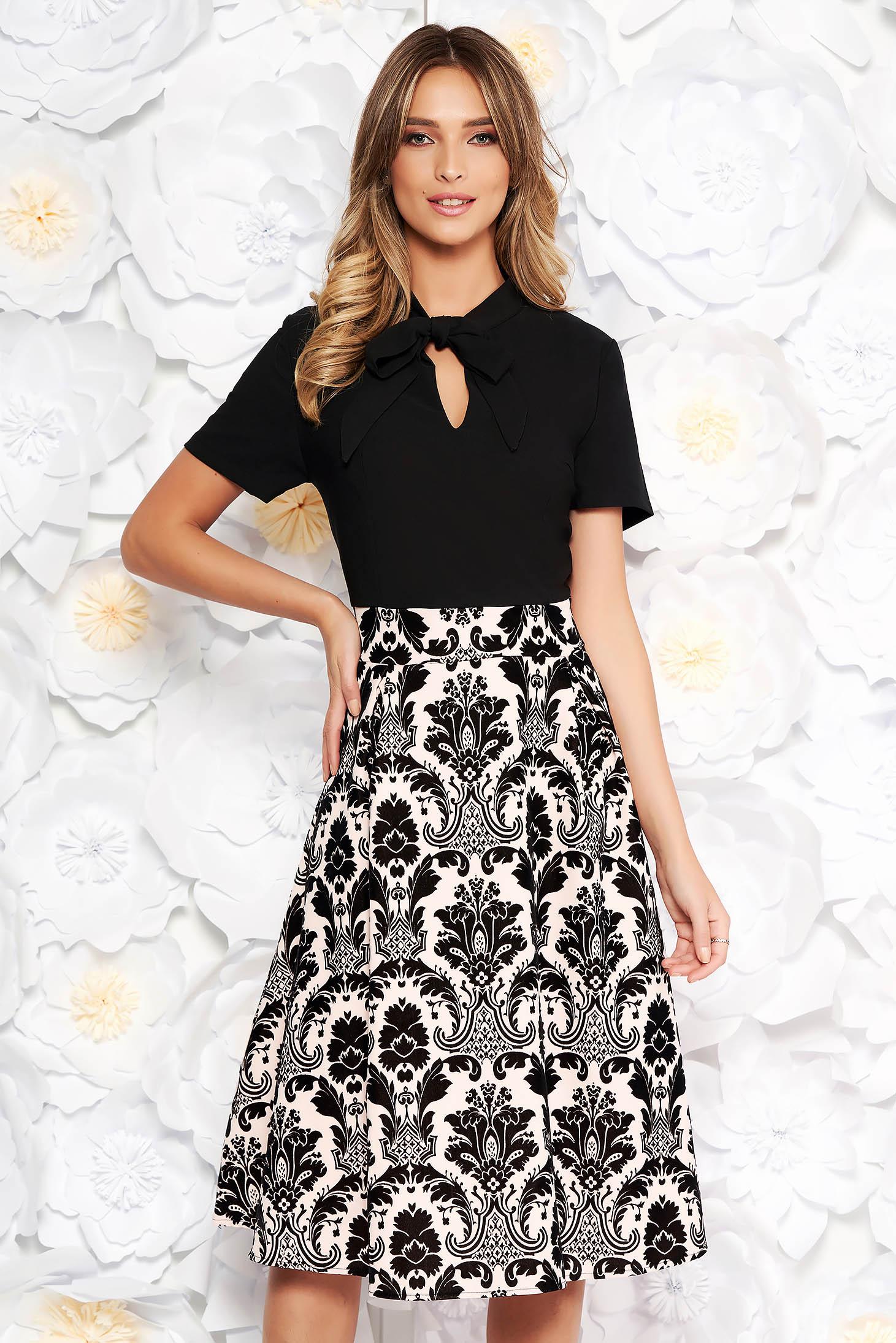 Black elegant midi cloche dress from velvet fabric