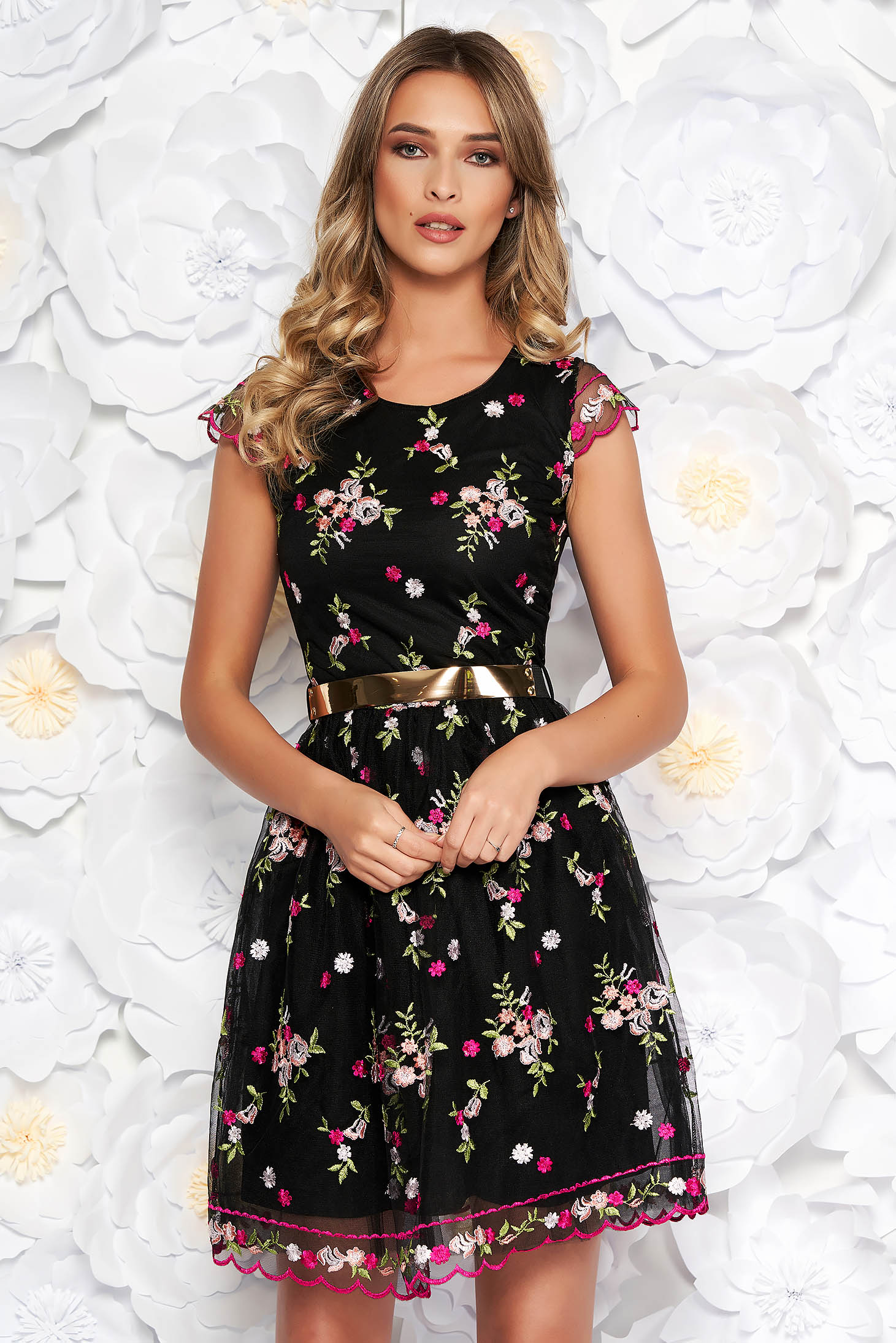 Black occasional embroidered laced cloche dress with inside lining accessorized with tied waistband