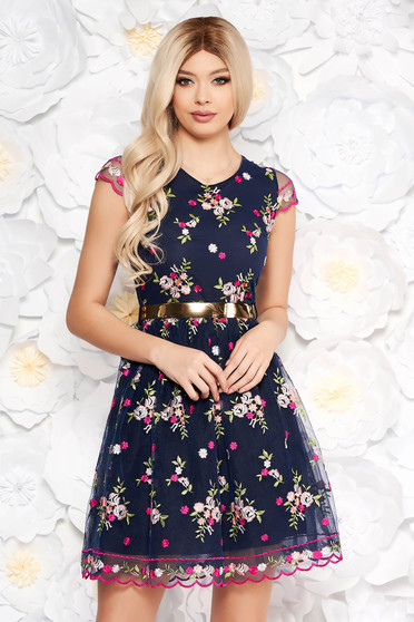 Darkblue occasional embroidered laced cloche dress with inside lining accessorized with tied waistband