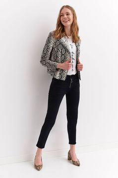 Top Secret grey casual short cut jacket from ecological leather with inside lining