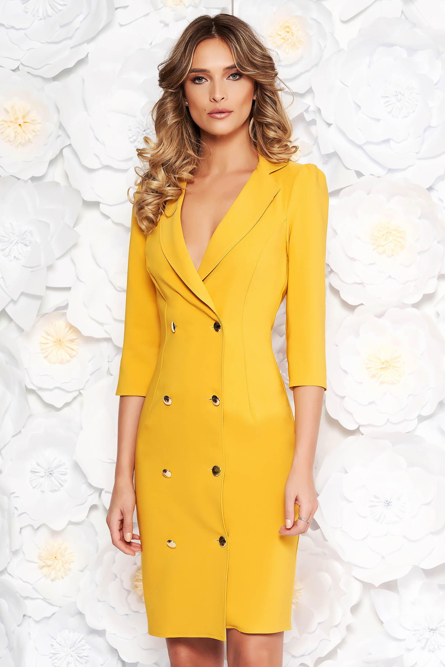 Artista mustard elegant blazer type dress slightly elastic fabric wrap around with button accessories
