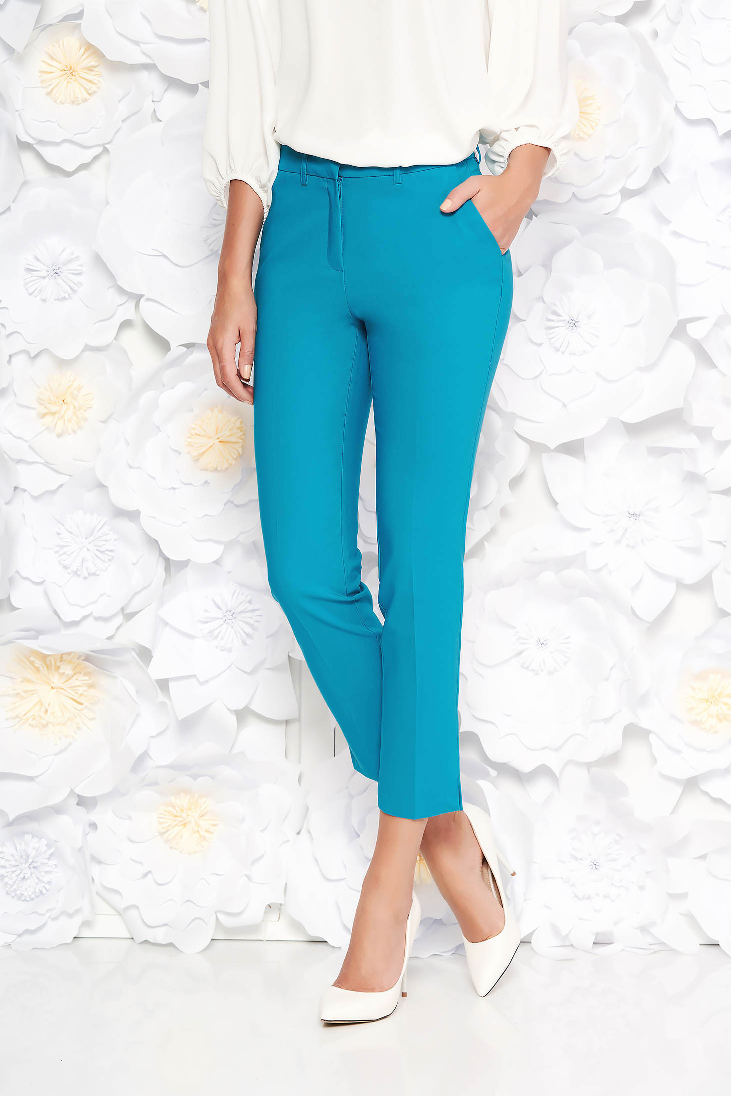 Turquoise elegant trousers with medium waist slightly elastic cotton