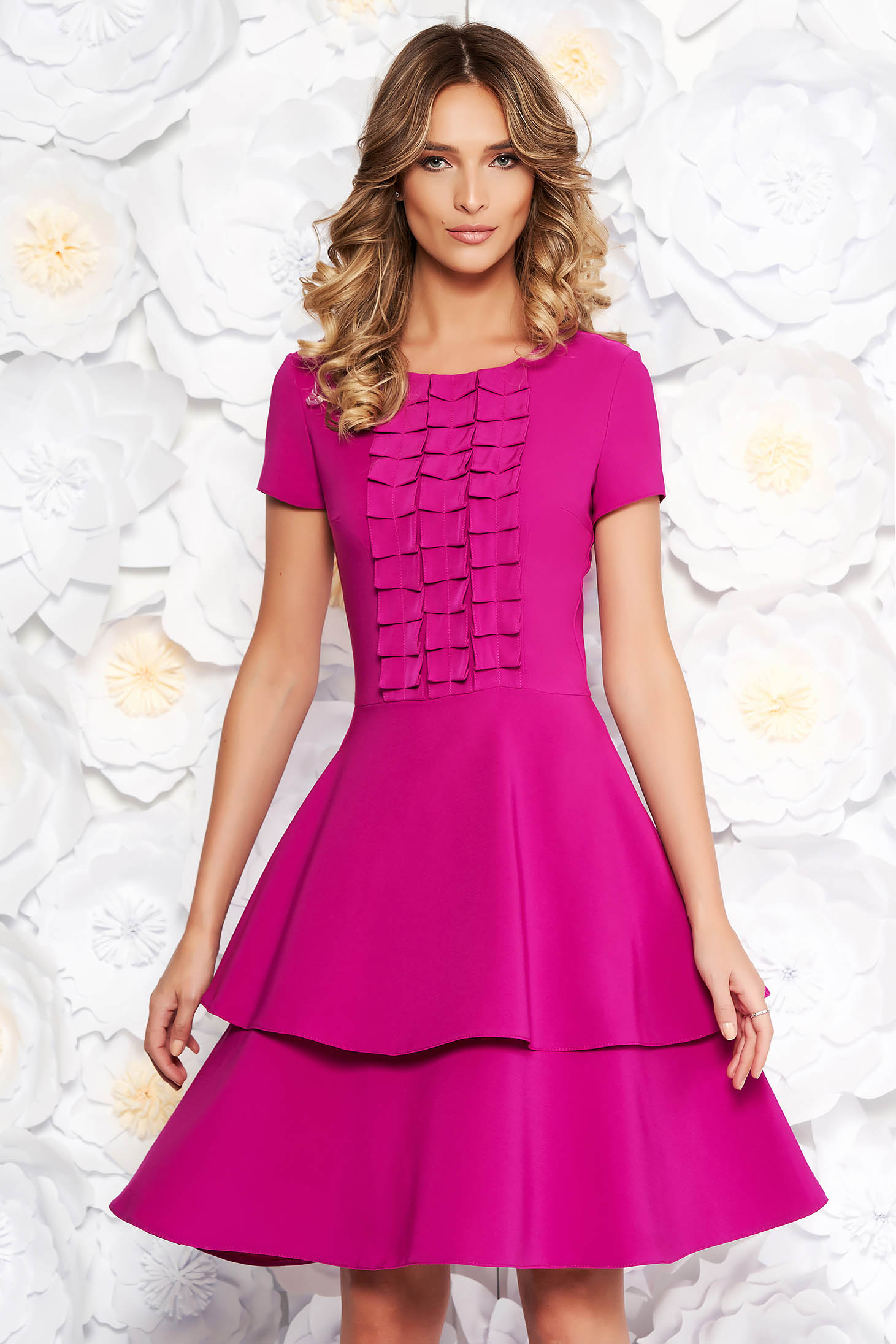 LaDonna fuchsia daily cloche dress slightly elastic fabric short sleeves with ruffle details