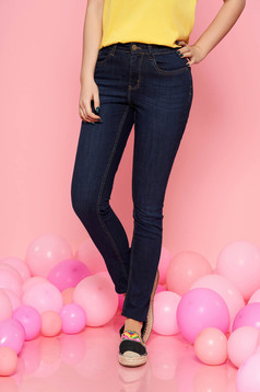 Top Secret blue casual skinny jeans slightly elastic cotton with pockets with medium waist
