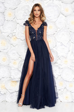 Artista darkblue occasional cloche dress from tulle laced with push-up cups with floral details with 3d effect