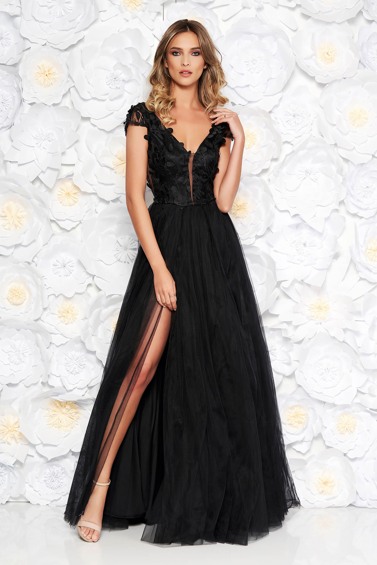 Artista black occasional cloche dress from tulle laced with push-up cups with floral details with 3d effect
