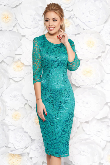 Occasional pencil dress 3/4 sleeve from laced fabric green with inside lining