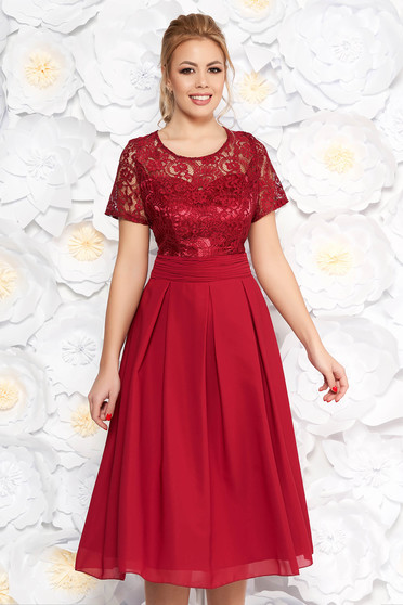 Burgundy occasional midi cloche dress slightly elastic fabric laced with inside lining with cut back