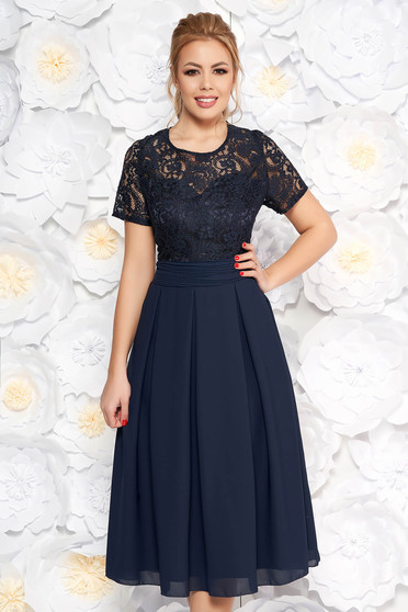 Darkblue occasional midi cloche dress slightly elastic fabric laced with inside lining with cut back