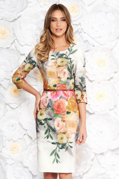 Grey daily elegant dress with tented cut slightly elastic fabric with floral prints
