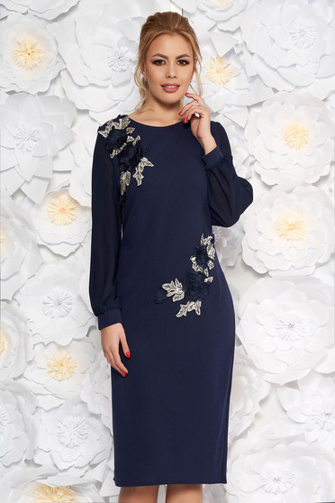Darkblue elegant midi pencil dress with inside lining scuba and veil fabric