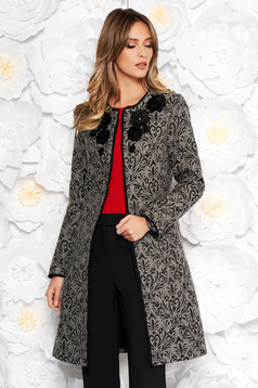 LaDonna grey elegant cloth coat arched cut front embroidery details
