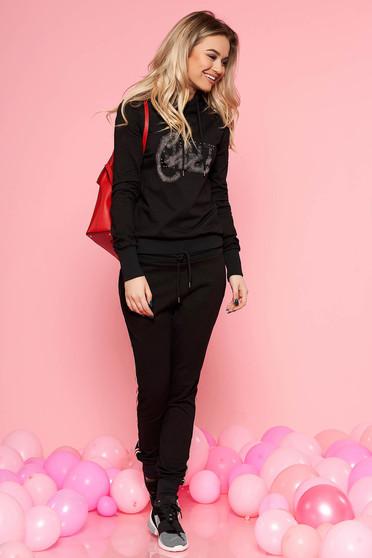 SunShine black casual set slightly elastic cotton with crystal embellished details with elastic waist